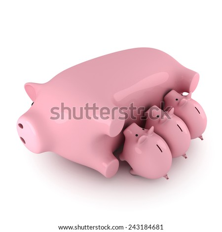 Piggy banks feeding from their mother, white background - stock photo