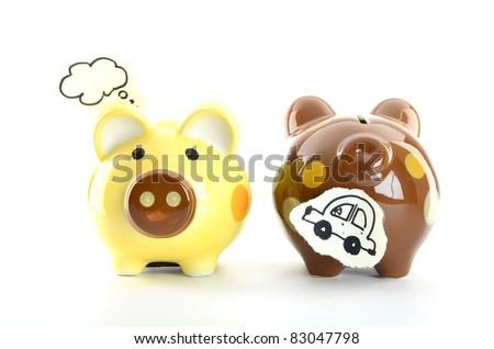 piggy banks isolated on white background - stock photo