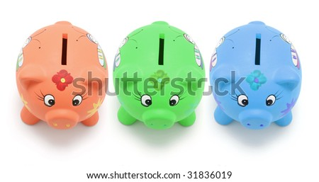 Piggy Banks on White Background