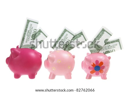 Piggy banks with Banknotes on White Background