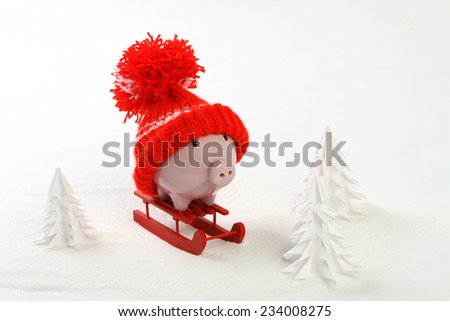 Piggy box with red hat with pompom standing on red sled  on snow and around are snowbound trees - toboggan - stock photo
