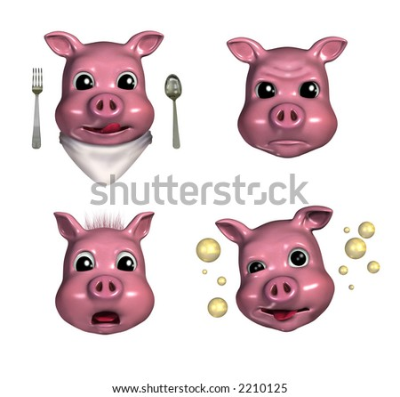 Piggy Emoticons 3 - 3D render - depicting hungry, pouty, scared and tipsy faces. - stock photo