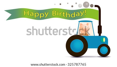piggy farmer on the tractor with flag for greeting inscriptions, captions, headings, headlines, etc - stock photo