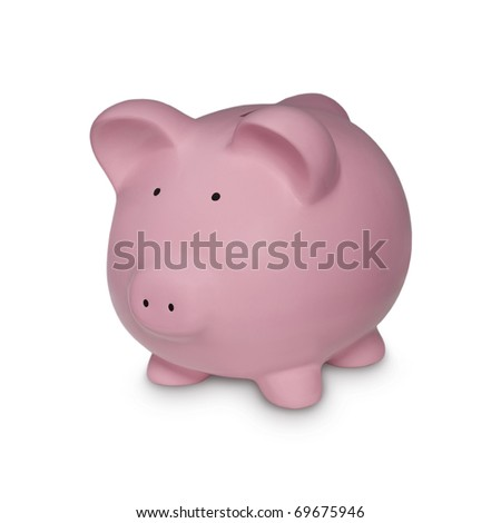Piggy in Gold Symbol for Financial Concepts - stock photo