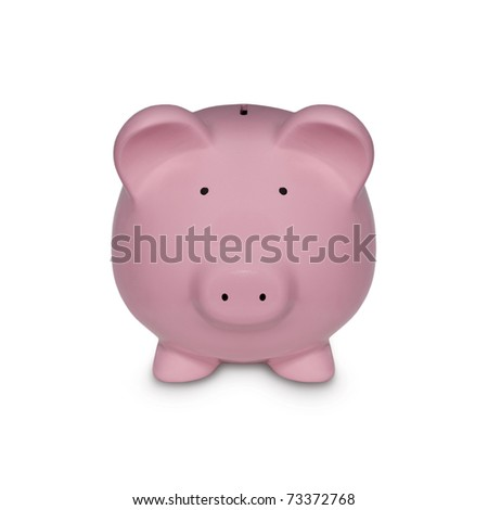 Piggy in Pink Symbol for Financial Concepts - stock photo