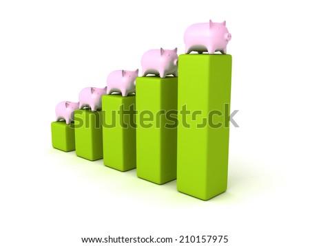 piggy money bank bar chart finance concept. 3d render illustration - stock photo
