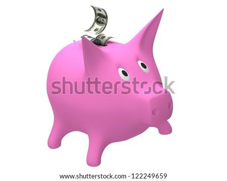 Piggy money bank with dollar - stock photo