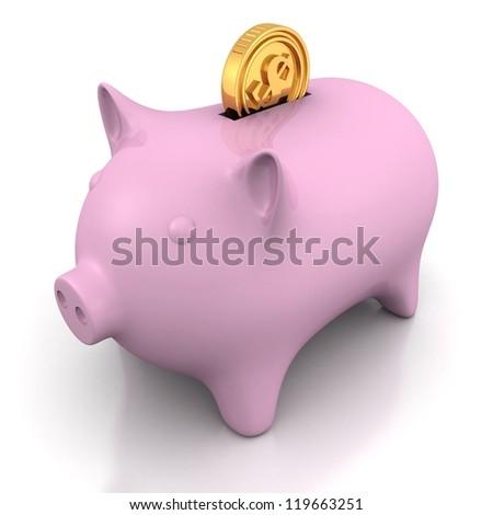 Piggy money bank with golden dollar coin - stock photo