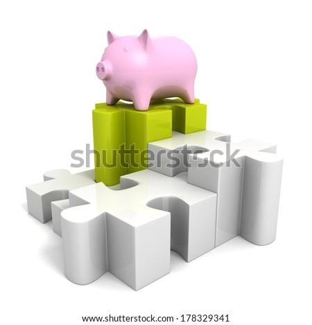 piggy money safe bank on jigsaw puzzle pie chart - stock photo