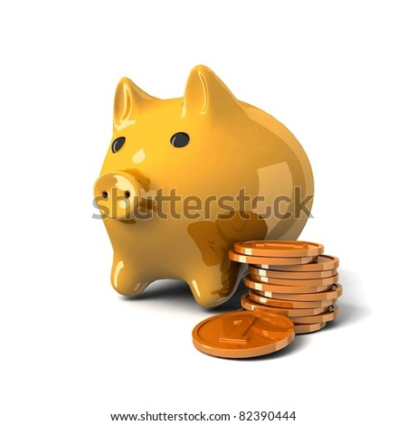 Piggy moneybox with money. 3d illustration.