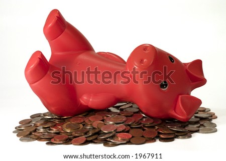piggy resting on pile of coin - stock photo