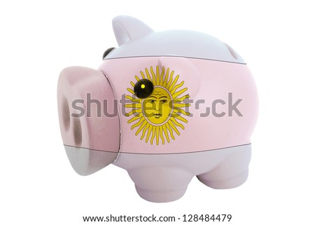 piggy rich bank in colors national flag of argentina for savings on white background