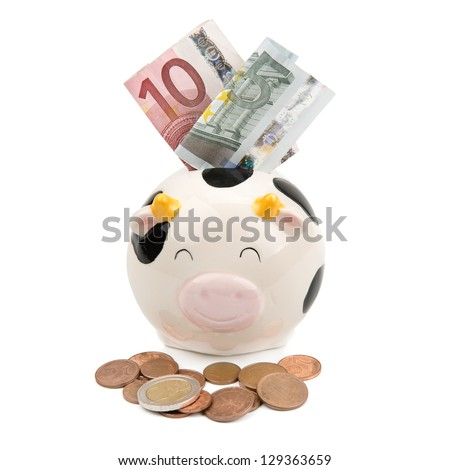 piggy soft money and coins - stock photo