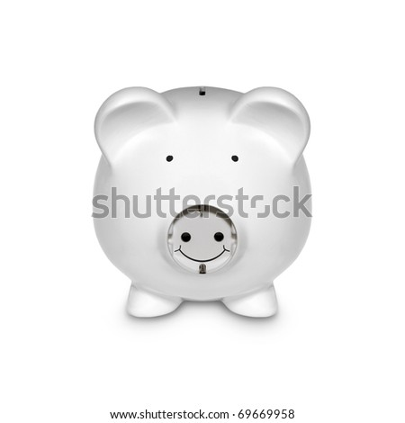 Piggy with Electric Plug as a Concept Isolated on White - stock photo