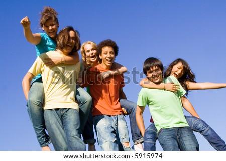piggyback group - stock photo