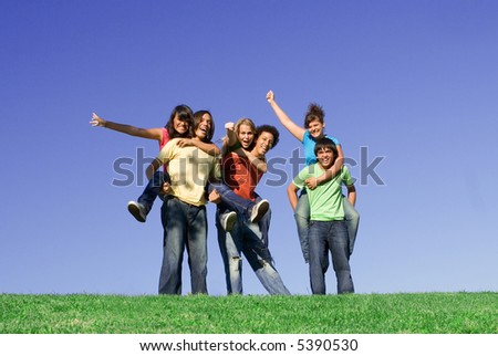 piggyback race - stock photo