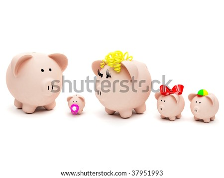 Piggybank family isolated over a white background - stock photo