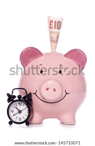 Piggybank with clock studio cutout - stock photo