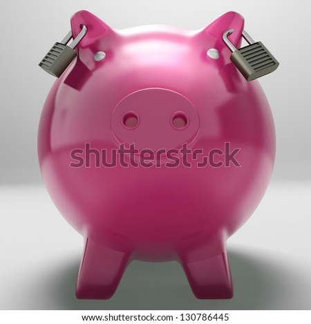 Piggybank With Locked Ears Showing Monetary Protection Or Secured Savings - stock photo
