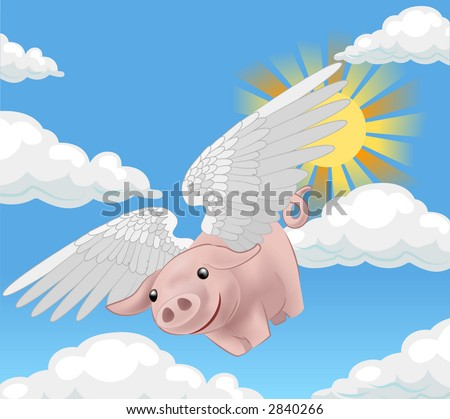pigs might fly, a flying pig. Raster version - stock photo