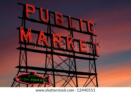Pike Place Market neon sign at sunset, Seattle, Washington - stock photo