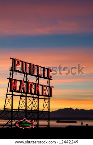 Pike Place Market neon sign at sunset, Seattle, Washington - stock photo