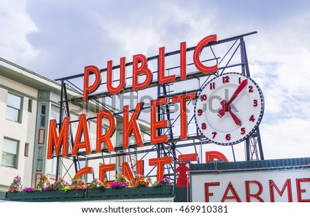 pike place market or Public market in summer,Seattle,Washington,usa. -for editorial use only. 07/05/16