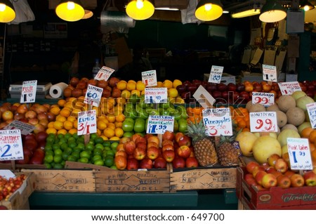 Pike Place Produce Stand - stock photo
