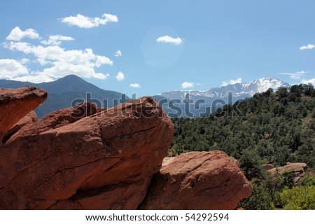 pike's peak from garden of the gods, colorado springs - stock photo
