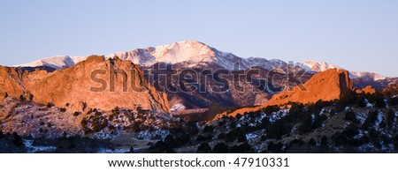Pikes Peak as seen from Garden of the Gods Park, Colorado - stock photo