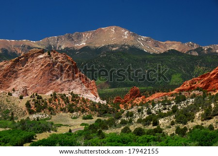 Pikes Peak at the east entrance into the Garden of the Gods near Colorado Springs, Colorado - stock photo