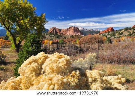 Pikes Peak Soaring over the Garden of the Gods near Colorado Springs, Colorado in Autumn with interesting fluffy fauna in the foreground - stock photo
