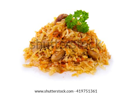 Pilaf  isolated on white background.