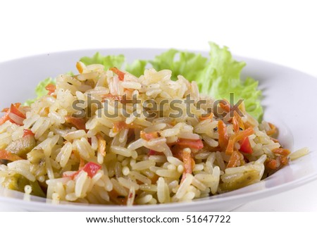 pilaf on plate decorated with leaf. close up - stock photo