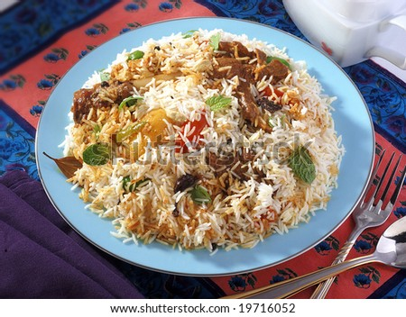 pilaf rice for single serving - stock photo