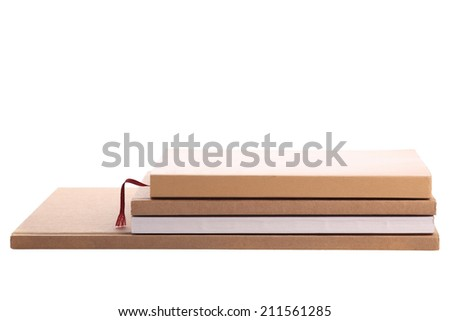 pile book isolated on white background - stock photo