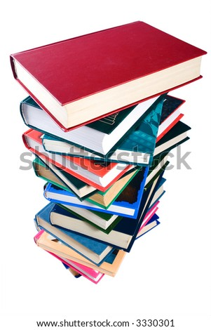 pile books isolated over white background