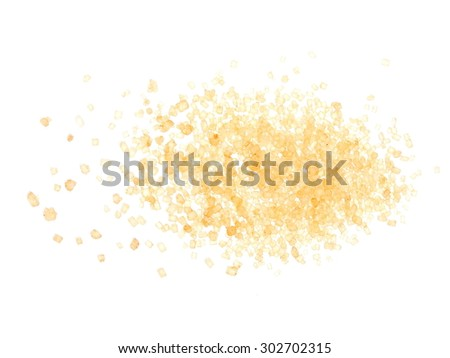 pile brown sugar isolated on white background, sugarcane - stock photo