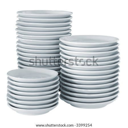 Pile clean side plates (with clipping path for easy background removing if needed) - stock photo