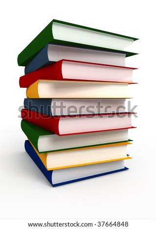 Pile consisting of several books on a white background