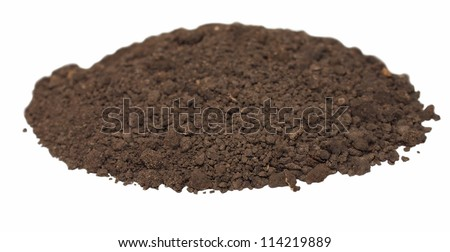 pile dirt isolated on white background - stock photo