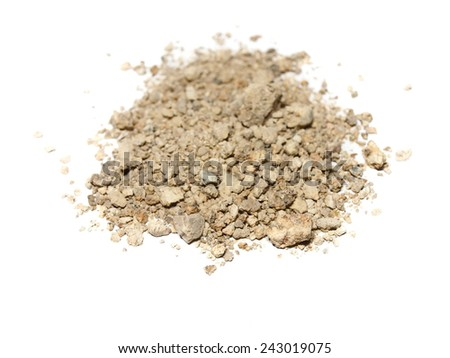 pile dry dirt isolated on white background with clipping path - stock photo