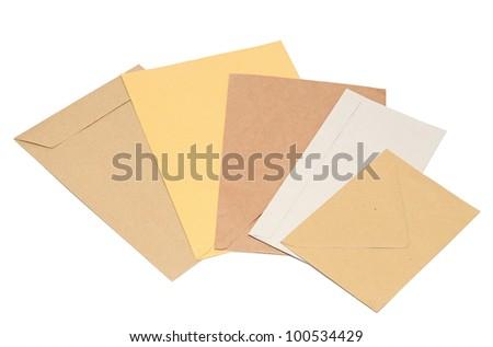 pile envelopes on white background - stock photo