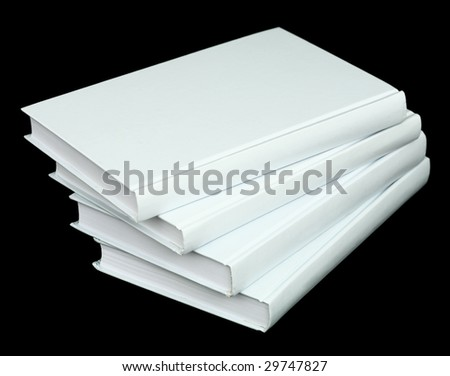 Pile from four book volumes on a black background - stock photo