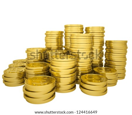 Pile gold coins. Isolated render on a white background - stock photo