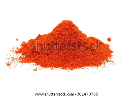 pile ground paprika isolated on white background