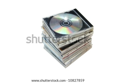Pile od CDs - stock photo