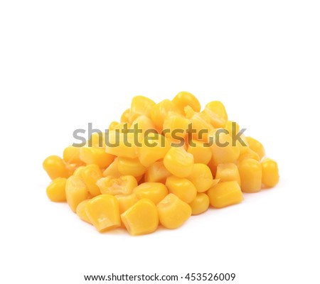 Pile of a canned corn isolated over the white background - stock photo