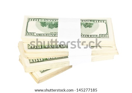 Pile of american hundred dollars - stock photo