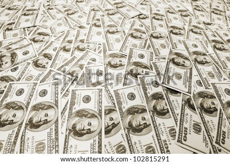 Pile of american money - stock photo